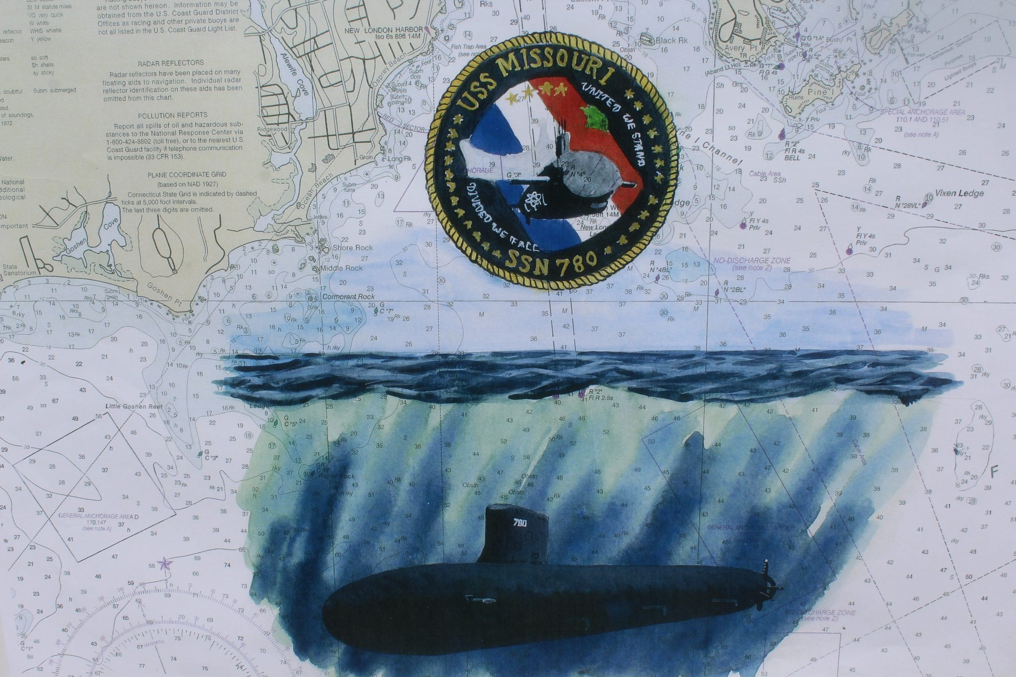 Submarine Painting Original Artwork USS Missouri, SSN 780