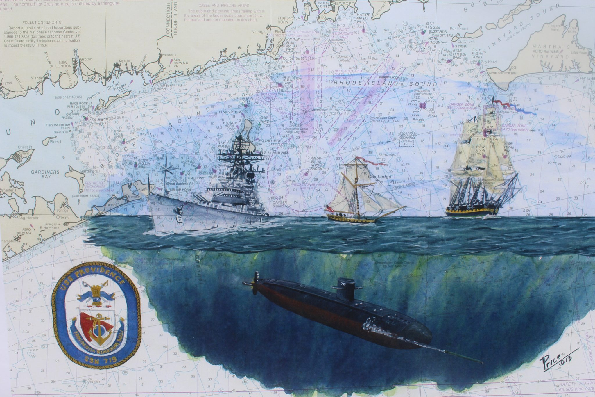 Submarine Painting by Dan Price USS Providence SSN 719 Original Artowrk