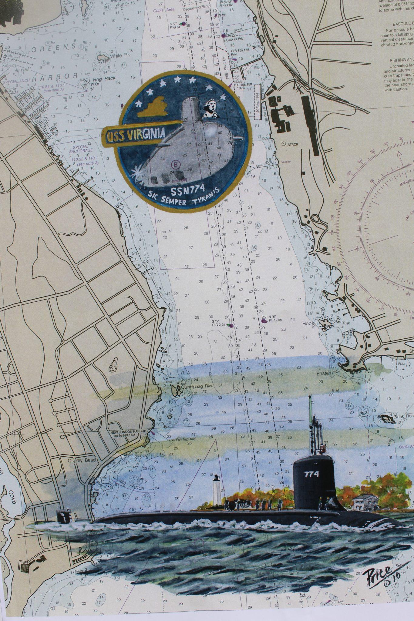 Submarine Painting by Dan Price USS VIrginia 774 New London Original Painting