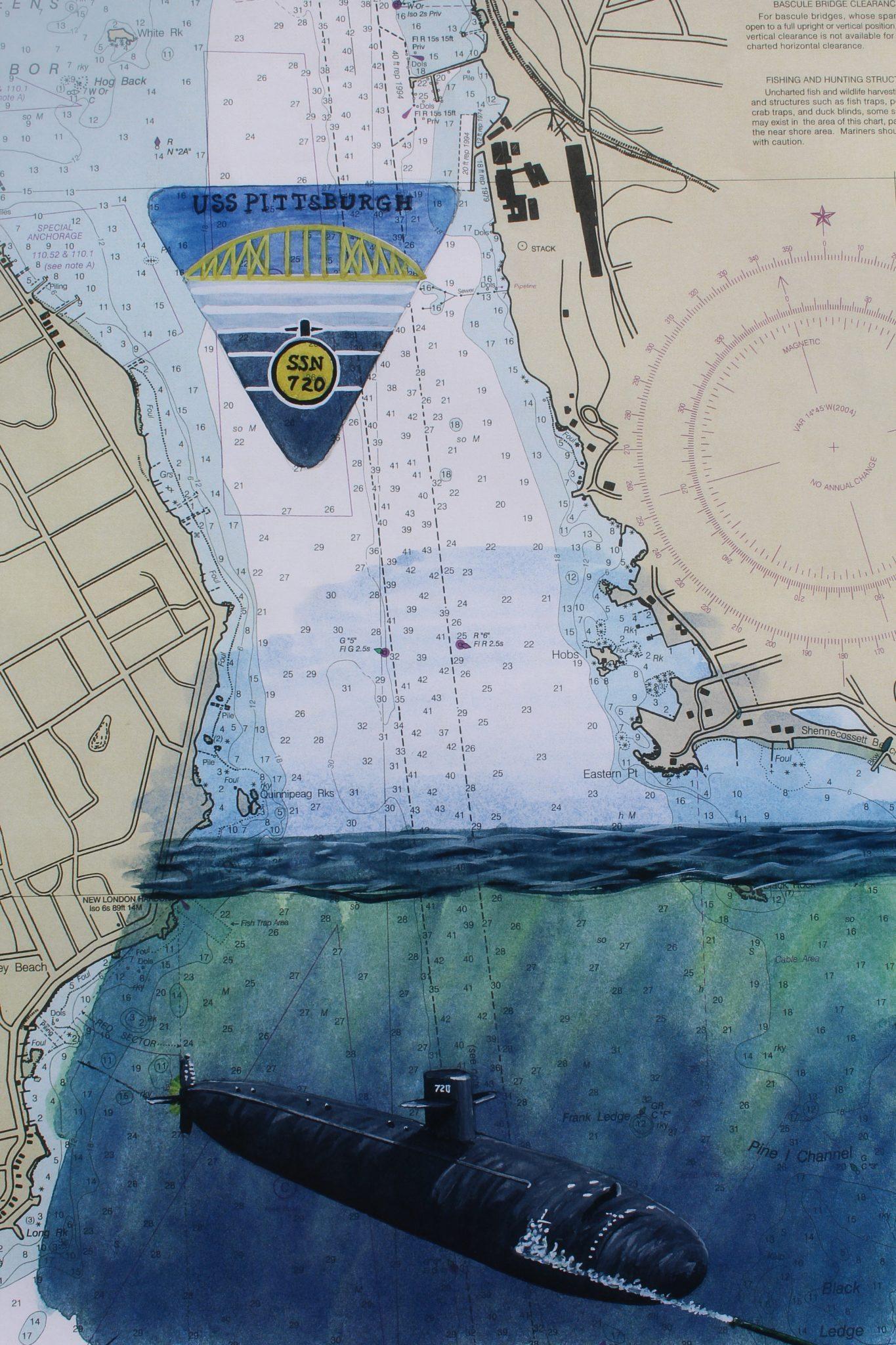 Submarine Painting by Dan Price USS Pittsburgh Original Artwork of SSN 720