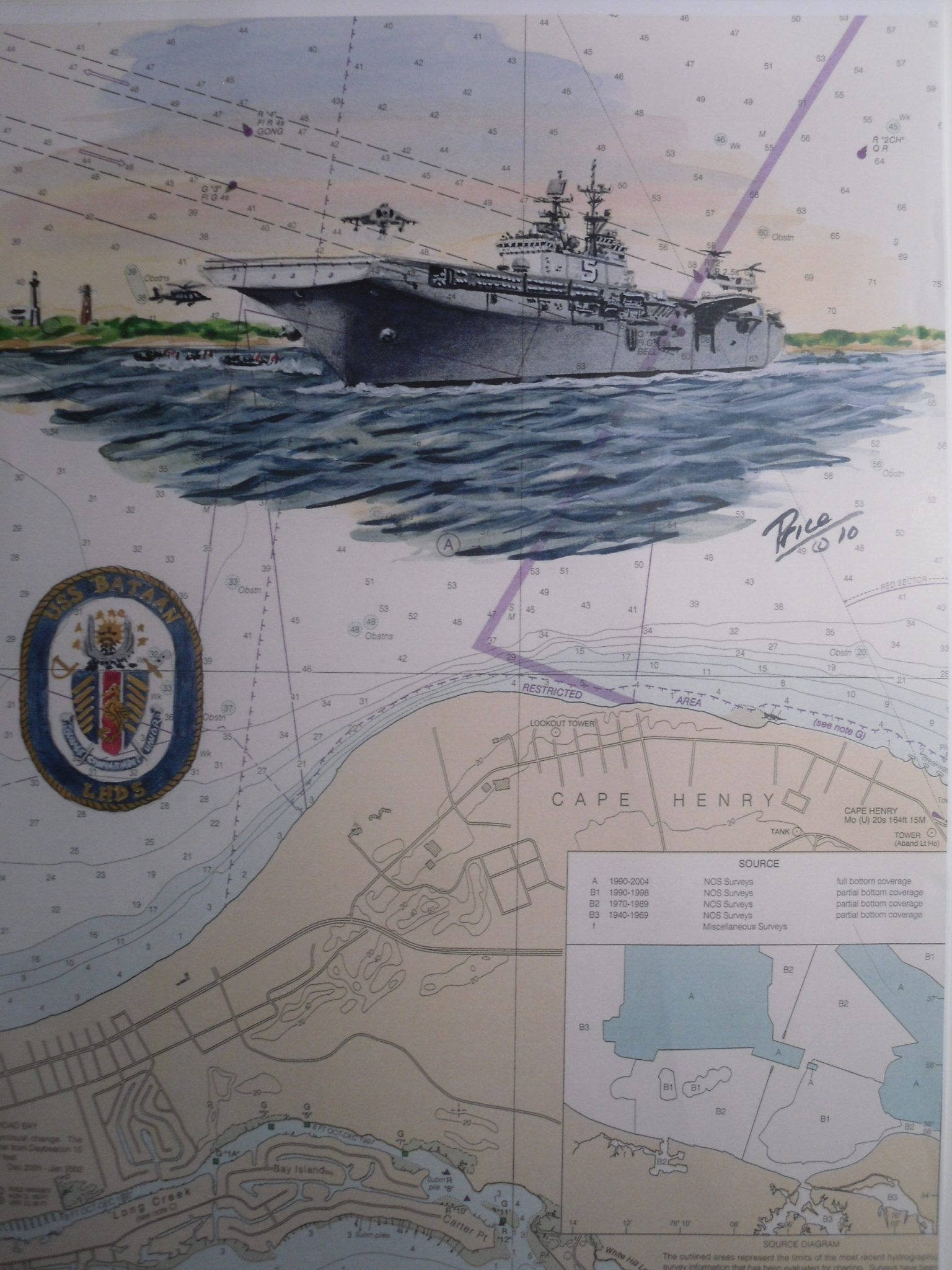 USS Bataan LSD 5 Ship Art by Daniel Price