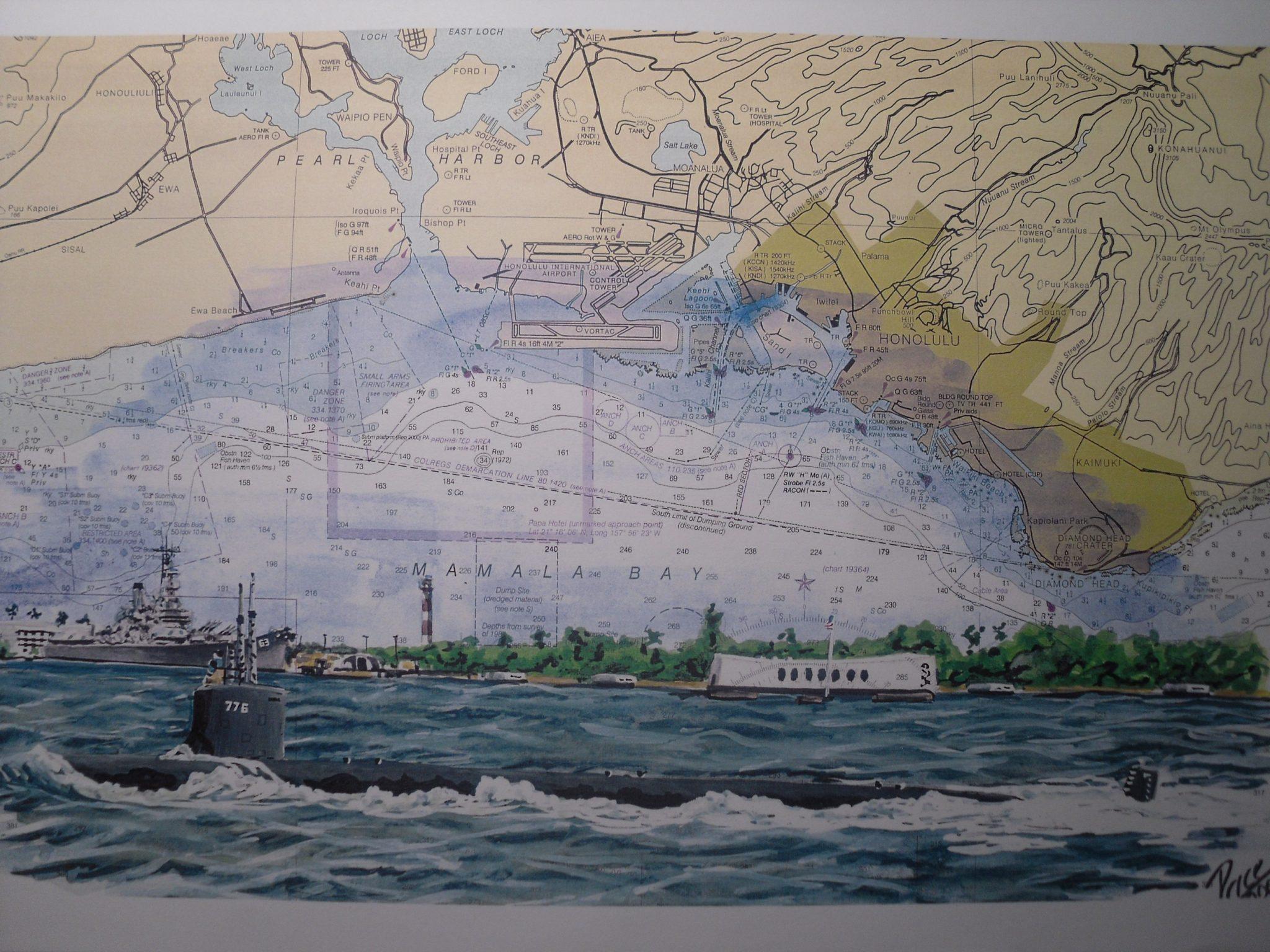 USS Hawaii SSN 776 Passing Arizona Memorial - Submarine artwork by Daniel Price