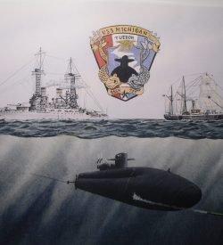 USS Michigan SSGN 727 Submarine & Ship Painting by Daniel Price