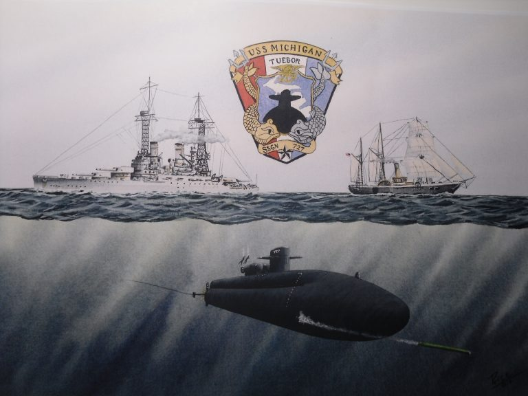USS Michigan SSGN 727 Submarine & Ship Painting by Daniel Price