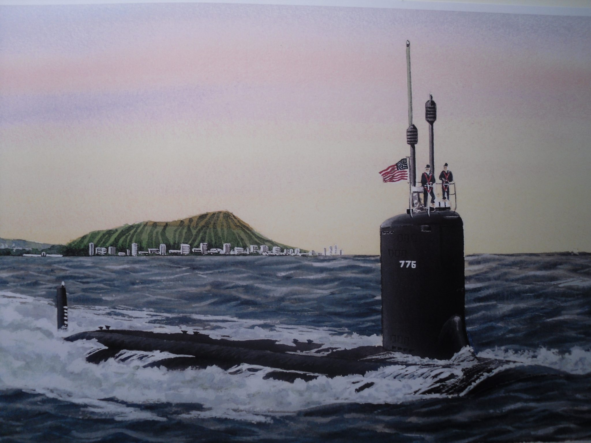 USS Hawaii SSN 776 Diamond Head No Chart - Submarine Painting by Daniel Price