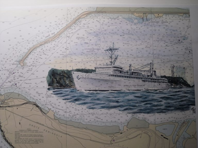 USS Frank Cable AS40 Guam Ship Painting by Daniel Price