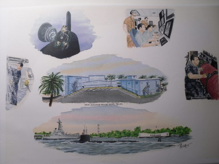 Naval Submarine Training Center Pearl Harbor Hawaii Painting by Daniel Price