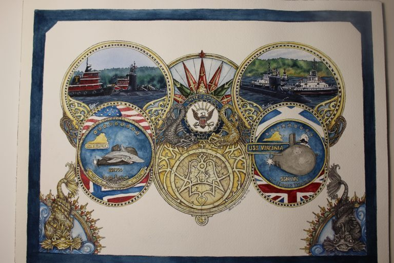 USS Virginia Submarine Painting