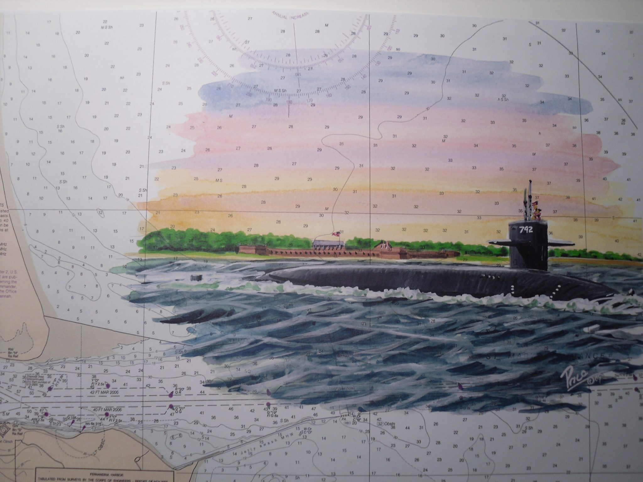 USS Wyoming SSBN 742 Kings Bay Georgia - Submarine Art by Daniel Price