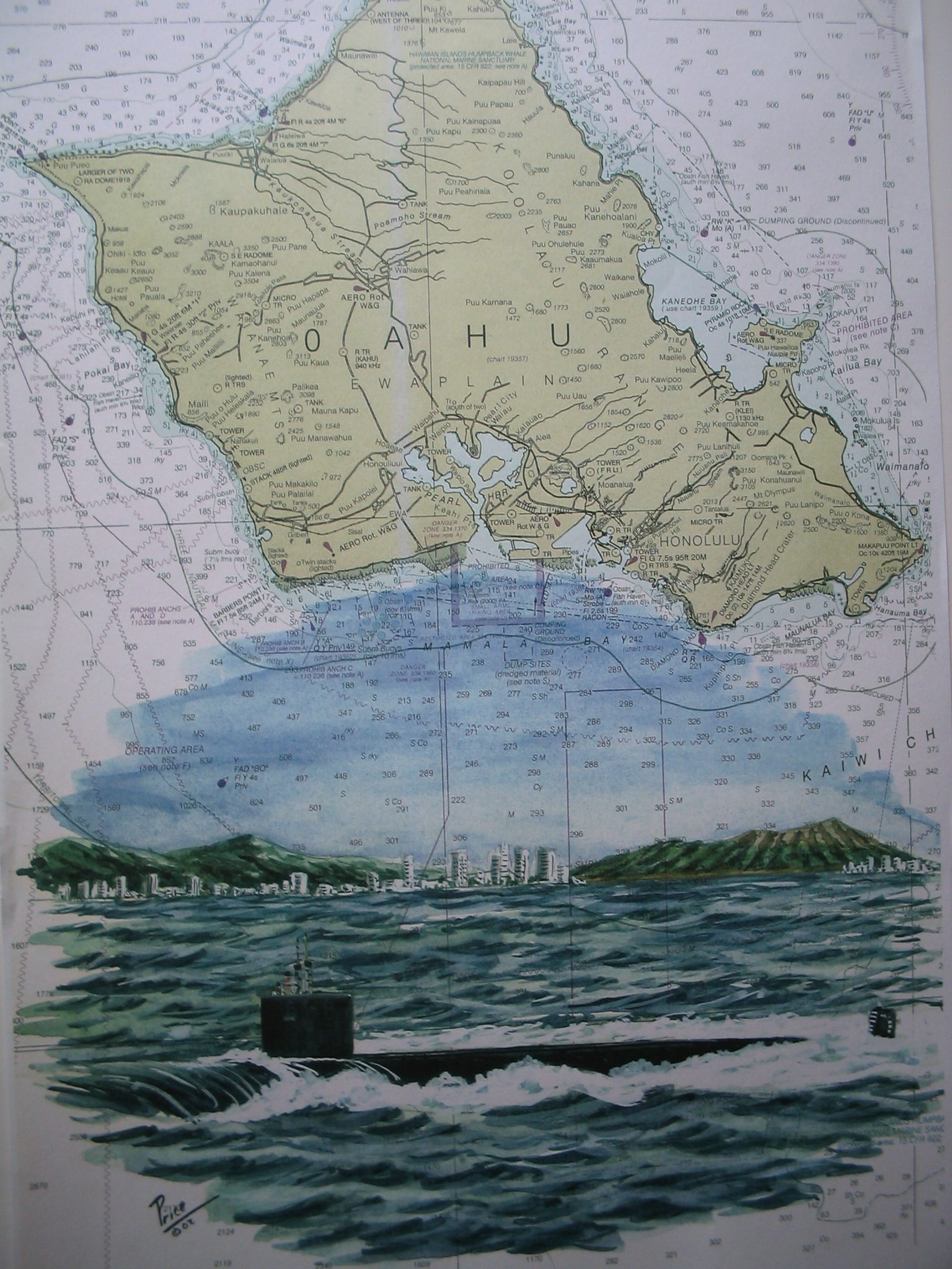 Submarine 688I Off Diamond Head Artwork - Painting by Daniel Price