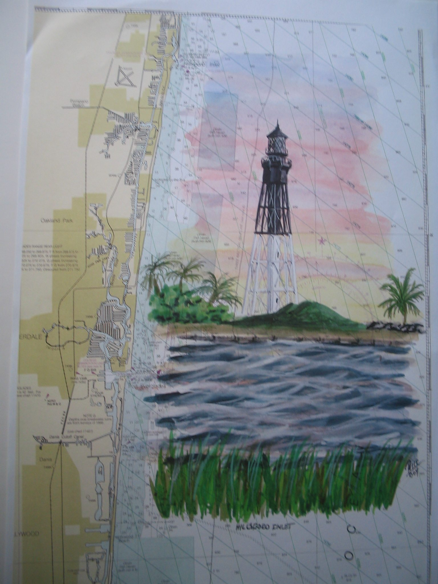 Hillsboro Inlet Lighthouse Painting by Daniel Price