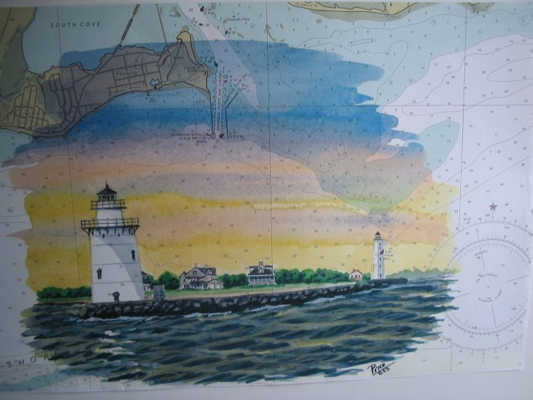 Saybrook Point Lights on Chart Painting by Daniel Price