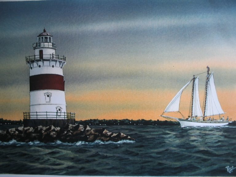 Latimer Reef Light Sailboat Lighthouse Painting by Daniel Price