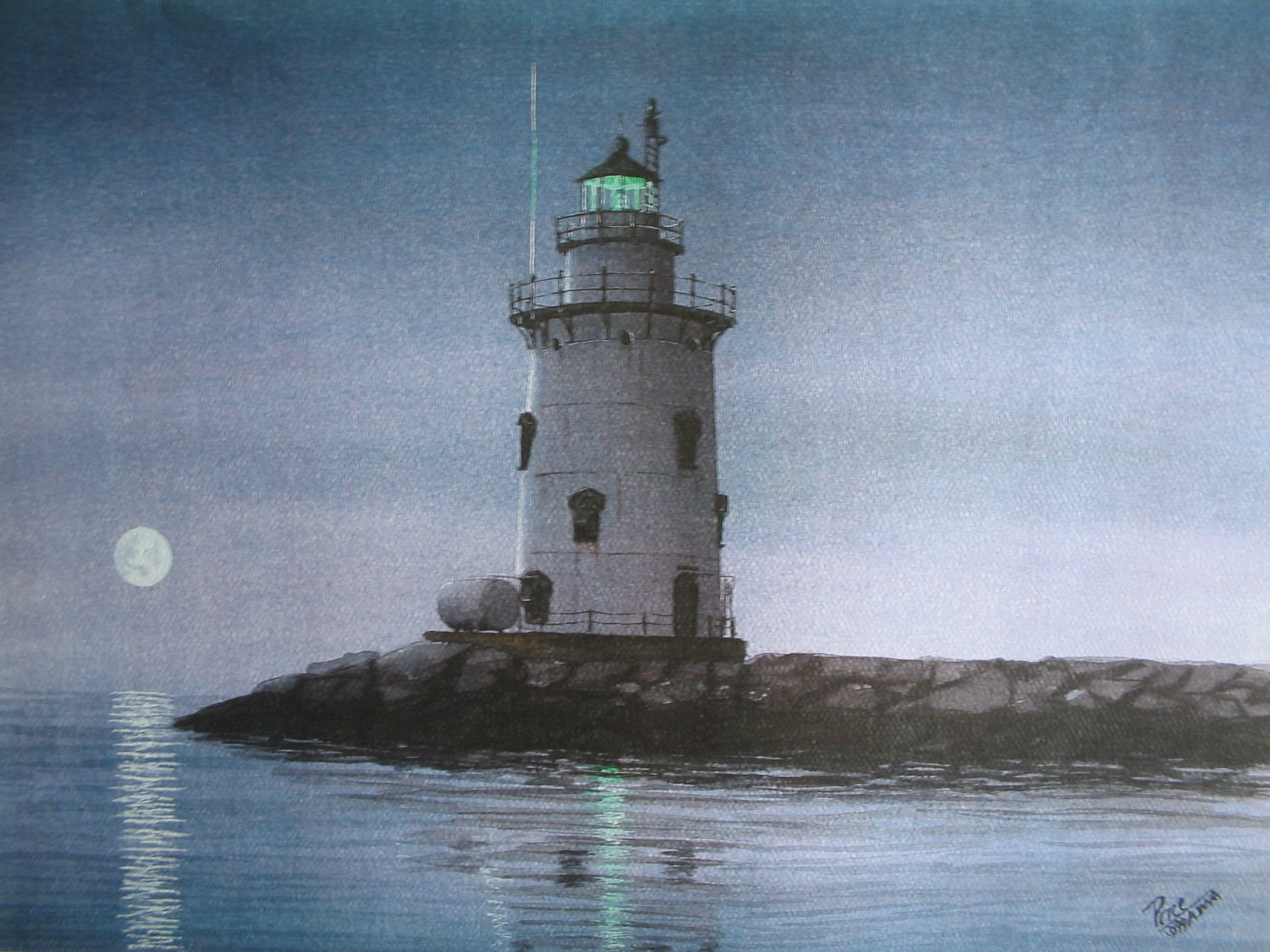Saybrook Outer Light - Lighthouse Painting by Daniel Price