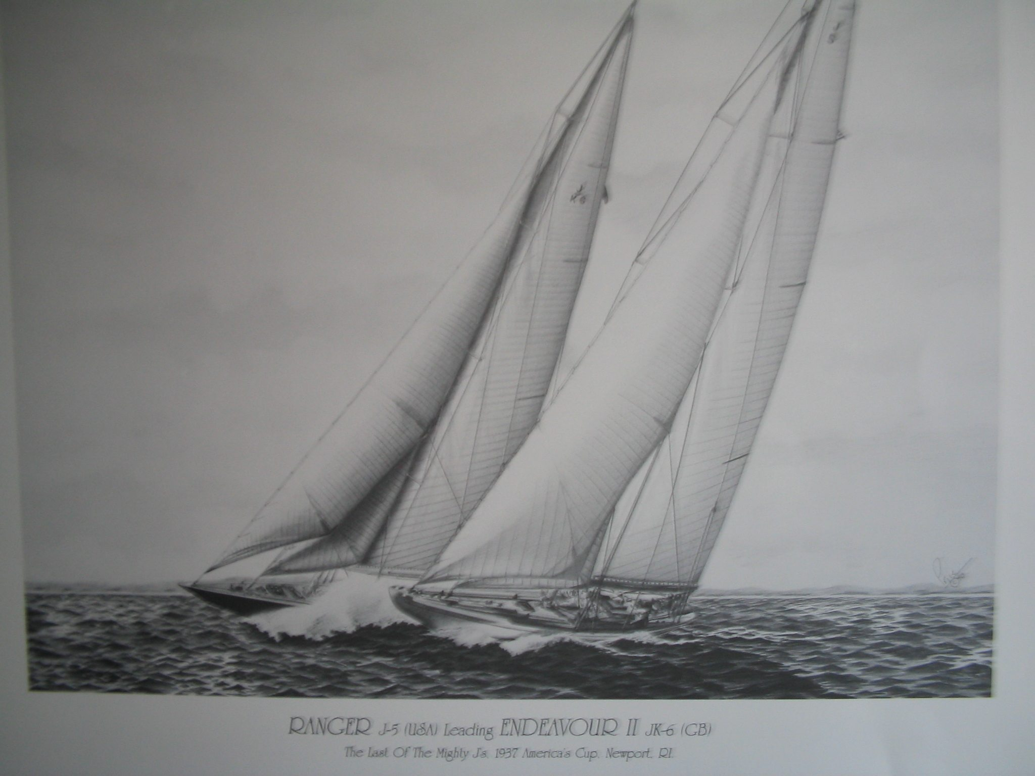 Ranger vs Endeavour, 1937 America's Cup Pencil Drawing by Dan Price