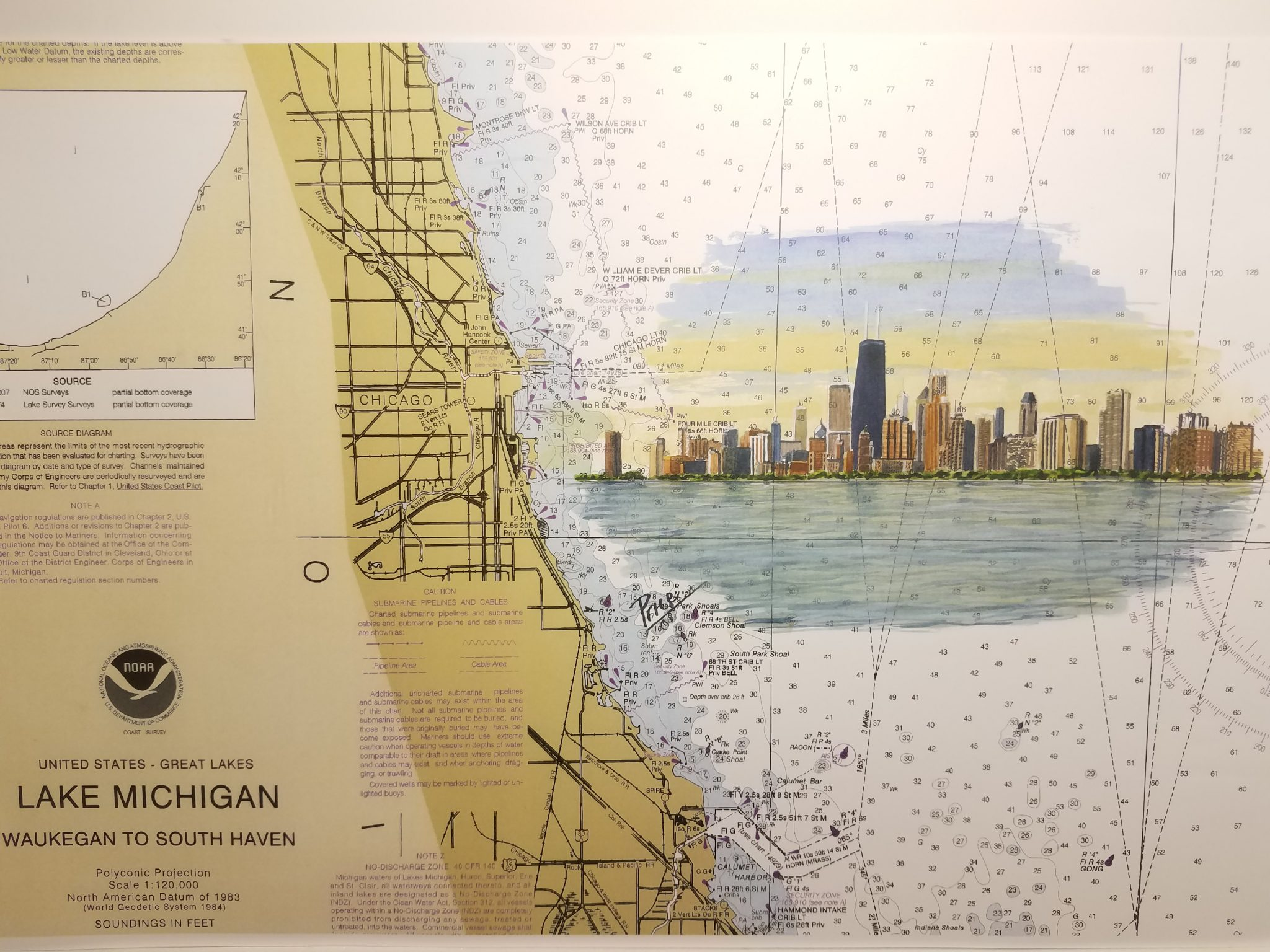 3db715a4a9a Chicago Skyline on chart of Lake Michigan – Daniel Price